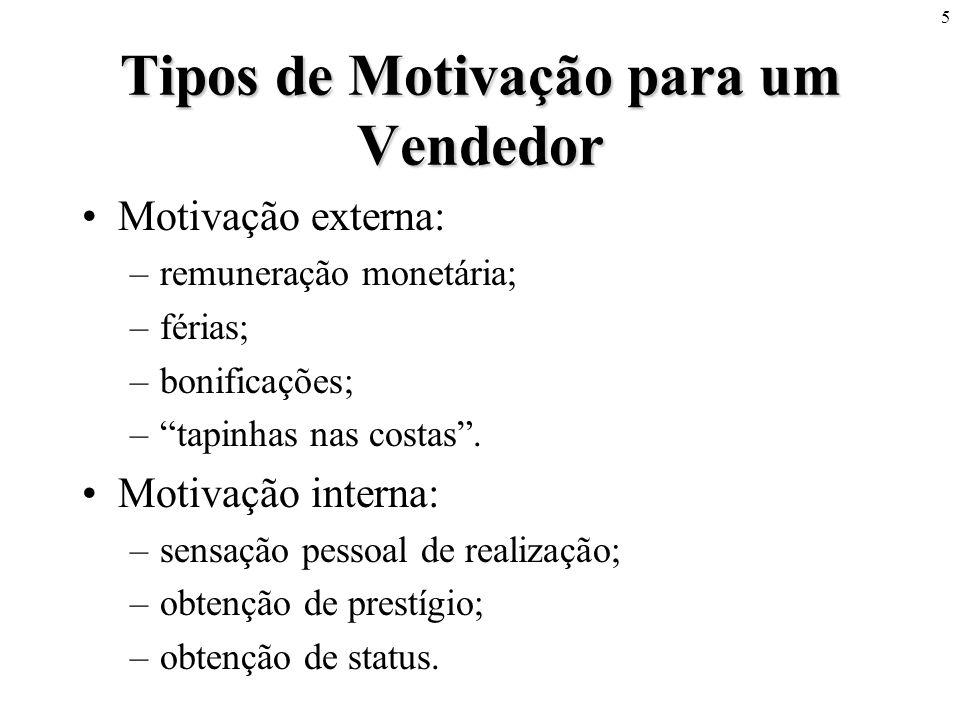 5 Tipos de Motivação para um Vendedor Motivação externa: –remuneração monetária; –férias; –bonificações; –tapinhas nas costas. Motivação interna: –sen