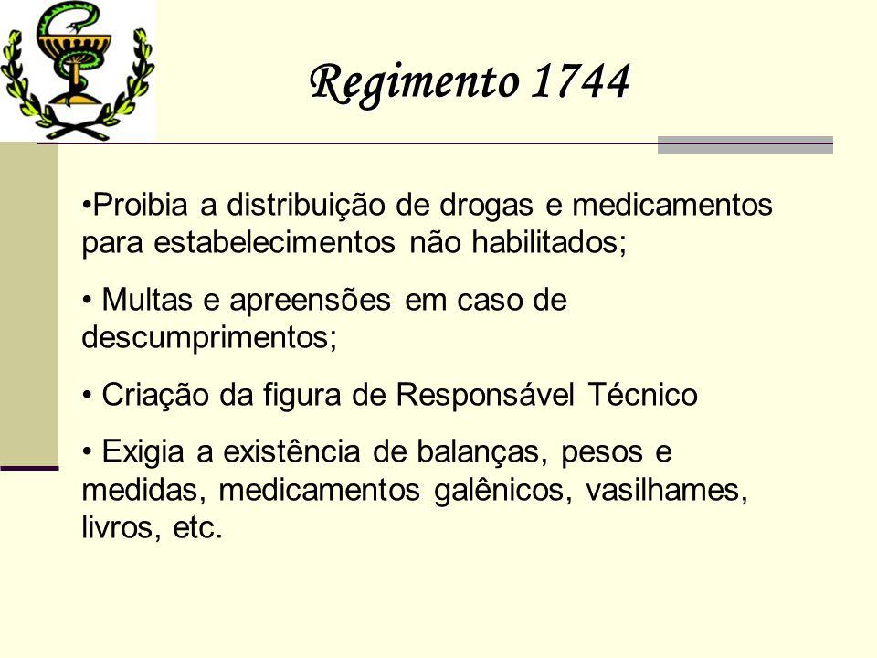 Regimento 1744 Proibia a distribuição de drogas e medicamentos para estabelecimentos não habilitados; Multas e apreensões em caso de descumprimentos;