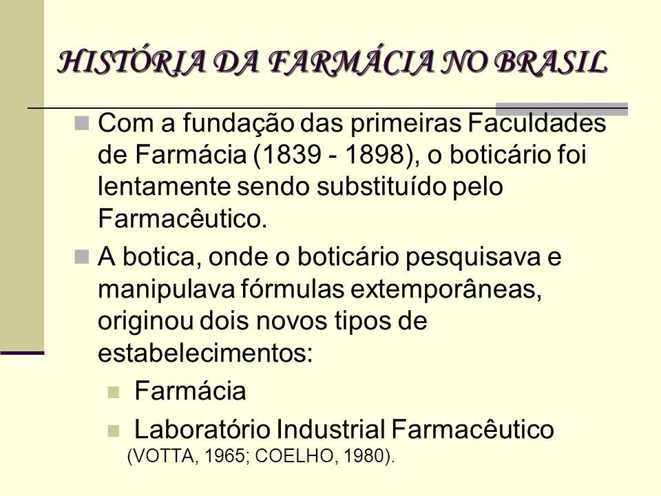 Com a fundação das primeiras Faculdades de Farmácia (1839 - 1898), o boticário foi lentamente sendo substituído pelo Farmacêutico. A botica, onde o bo
