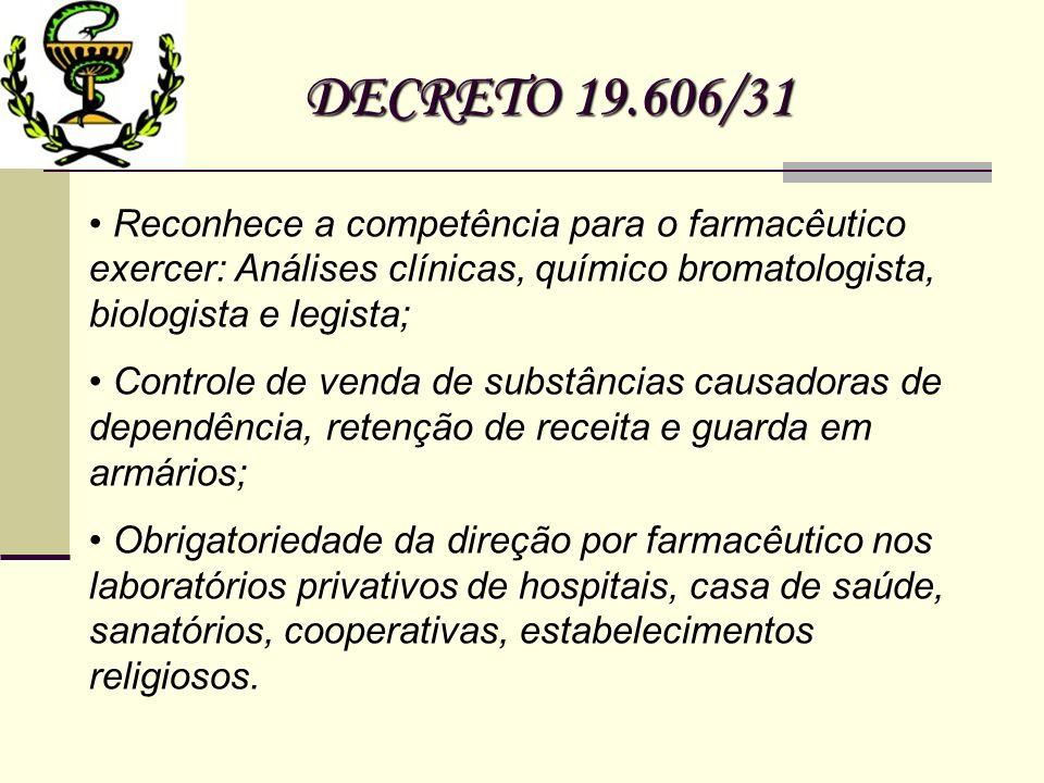 DECRETO 19.606/31 Reconhece a competência para o farmacêutico exercer: Análises clínicas, químico bromatologista, biologista e legista; Controle de ve
