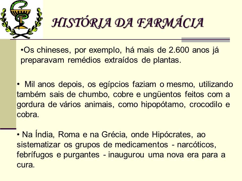HISTÓRIA DA FARMÁCIA Os chineses, por exemplo, há mais de 2.600 anos já preparavam remédios extraídos de plantas. Mil anos depois, os egípcios faziam