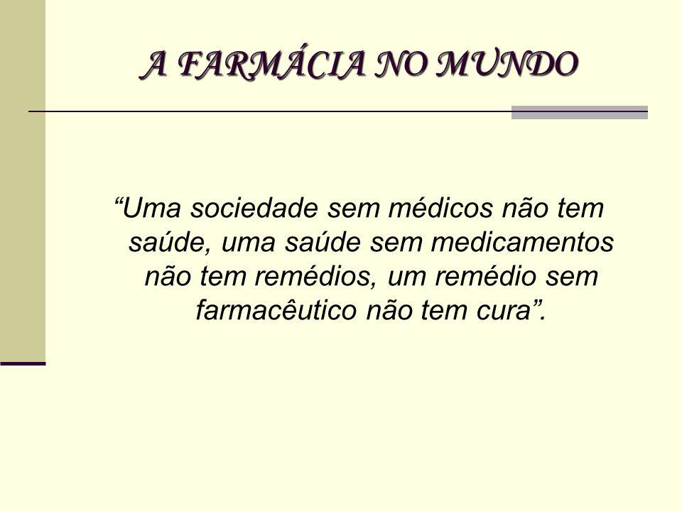 A FARMÁCIA NO MUNDO Uma sociedade sem médicos não tem saúde, uma saúde sem medicamentos não tem remédios, um remédio sem farmacêutico não tem cura.