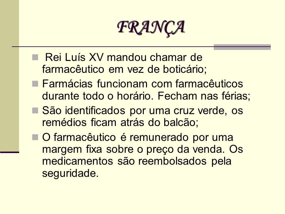 FRANÇA Rei Luís XV mandou chamar de farmacêutico em vez de boticário; Farmácias funcionam com farmacêuticos durante todo o horário. Fecham nas férias;