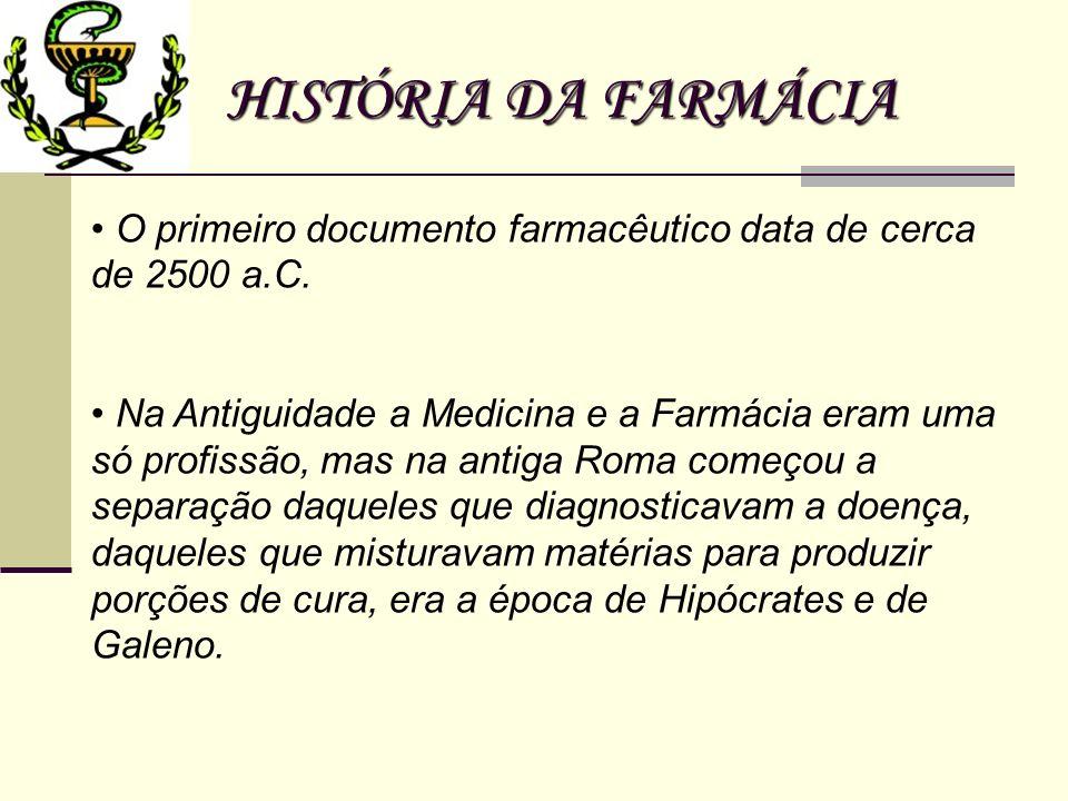 HISTÓRIA DA FARMÁCIA O primeiro documento farmacêutico data de cerca de 2500 a.C. Na Antiguidade a Medicina e a Farmácia eram uma só profissão, mas na