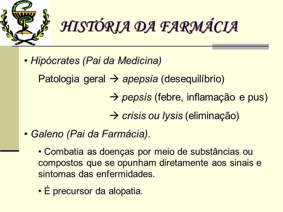 HISTÓRIA DA FARMÁCIA Hipócrates (Pai da Medicina) Patologia geral apepsia (desequilíbrio) pepsis (febre, inflamação e pus) crisis ou lysis (eliminação