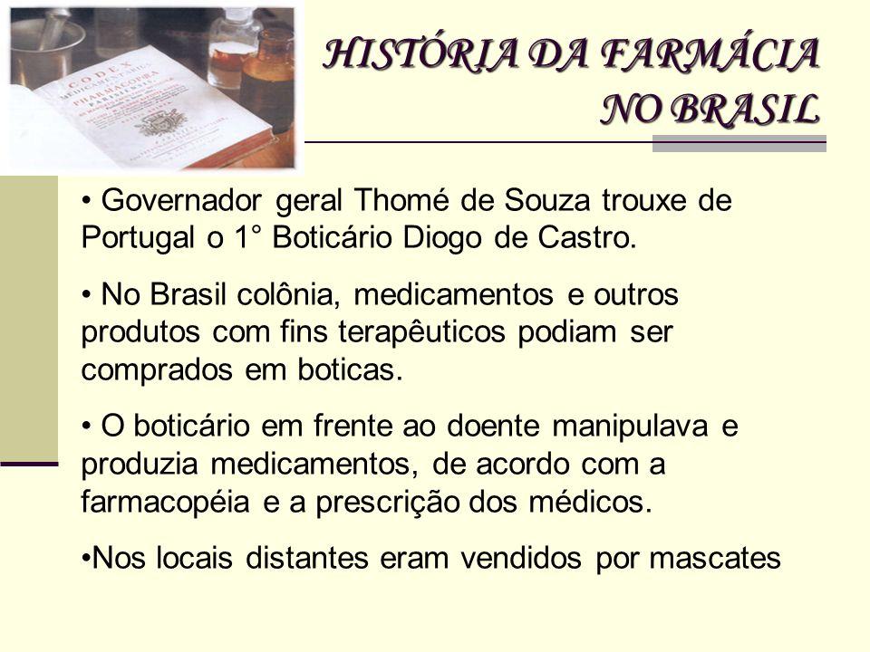 HISTÓRIA DA FARMÁCIA NO BRASIL Governador geral Thomé de Souza trouxe de Portugal o 1° Boticário Diogo de Castro. No Brasil colônia, medicamentos e ou