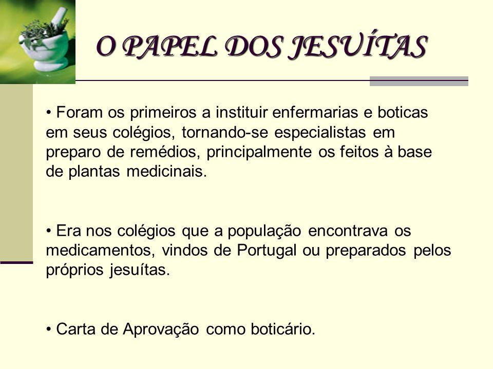 O PAPEL DOS JESUÍTAS Foram os primeiros a instituir enfermarias e boticas em seus colégios, tornando-se especialistas em preparo de remédios, principa