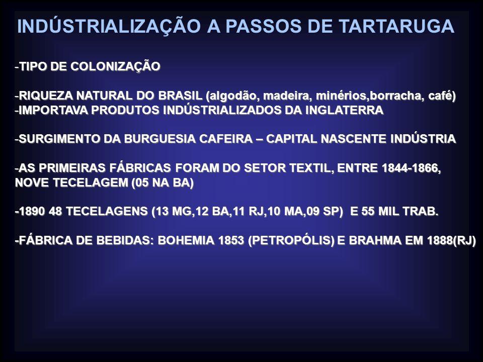INDÚSTRIALIZAÇÃO A PASSOS DE TARTARUGA -TIPO DE COLONIZAÇÃO -RIQUEZA NATURAL DO BRASIL (algodão, madeira, minérios,borracha, café) -IMPORTAVA PRODUTOS