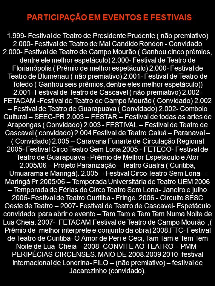 1.999- Festival de Teatro de Presidente Prudente ( não premiativo) 2.000- Festival de Teatro de Mal Candido Rondon - Convidado 2.000- Festival de Teat
