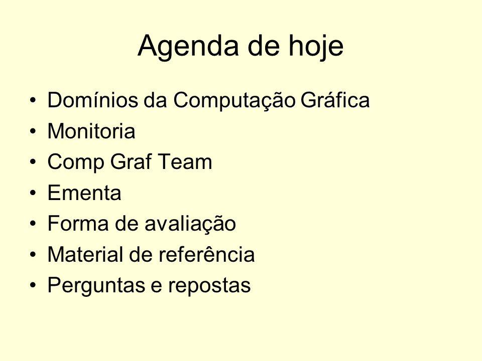 Agenda de hoje Domínios da Computação GráficaDomínios da Computação Gráfica Monitoria Comp Graf Team Ementa Forma de avaliação Material de referência