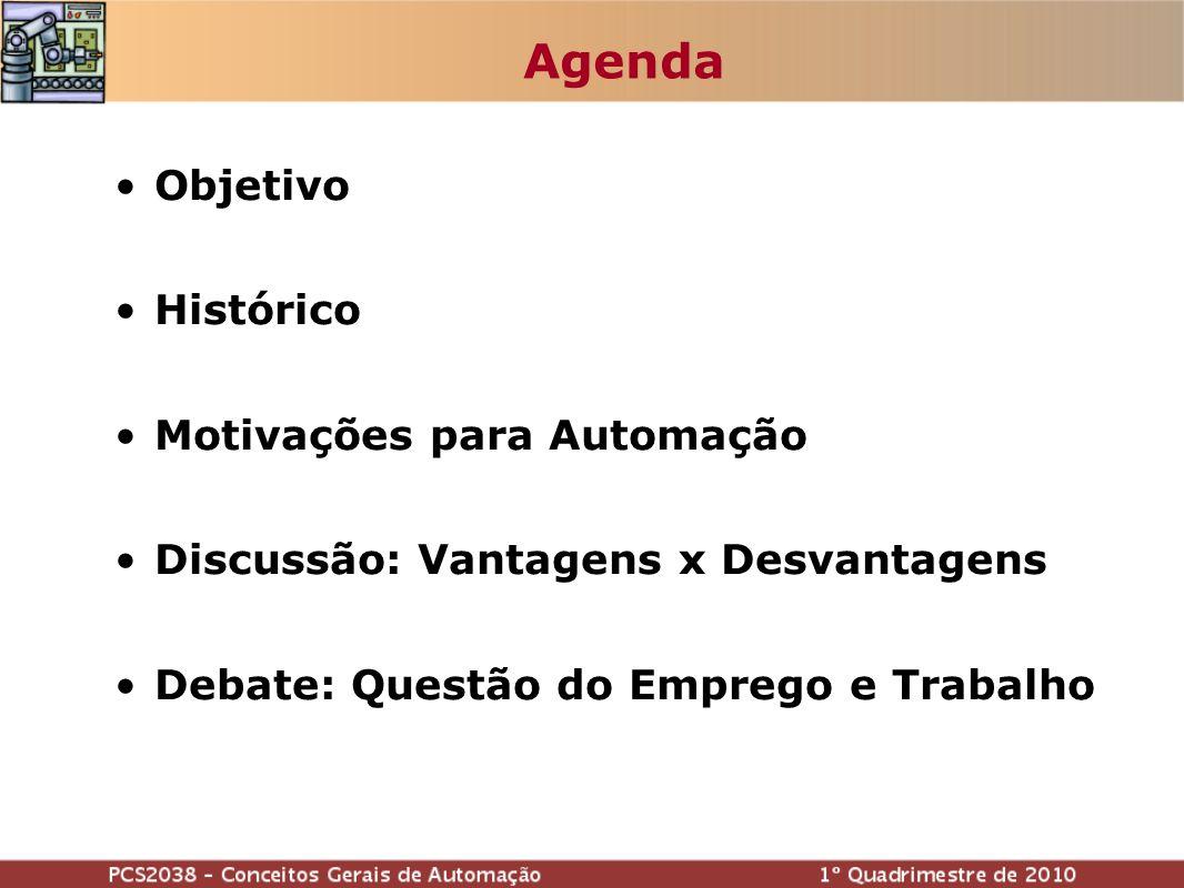 Agenda Objetivo Histórico Motivações para Automação Discussão: Vantagens x Desvantagens Debate: Questão do Emprego e Trabalho