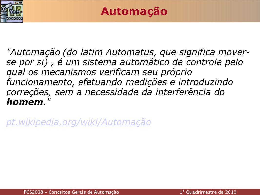 Automação (do latim Automatus, que significa mover- se por si), é um sistema automático de controle pelo qual os mecanismos verificam seu próprio funcionamento, efetuando medições e introduzindo correções, sem a necessidade da interferência do homem. pt.wikipedia.org/wiki/Automação Automação