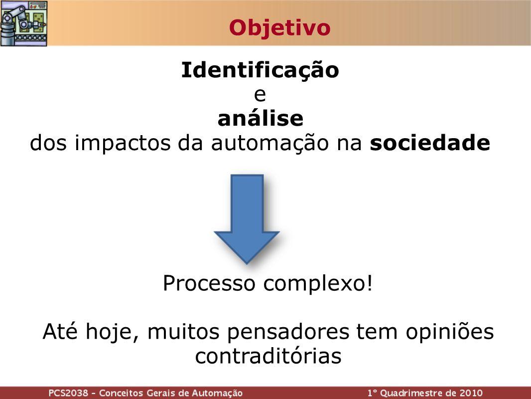 Identificação e análise dos impactos da automação na sociedade Objetivo Processo complexo.