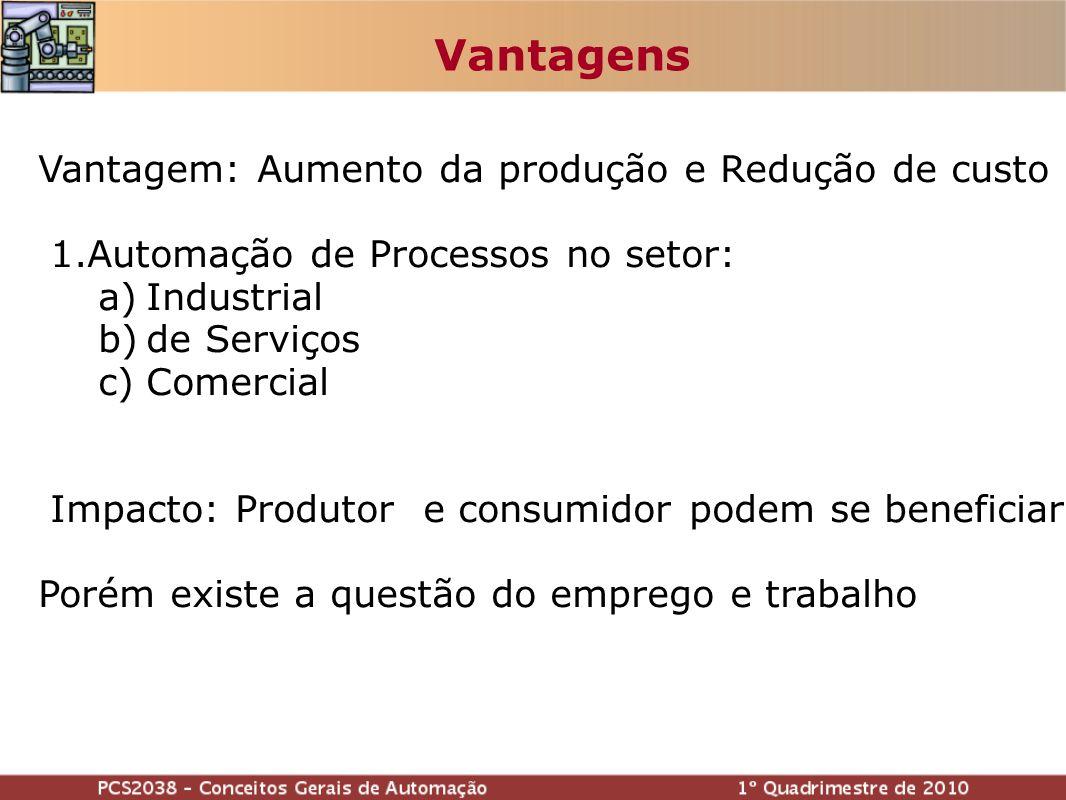 Vantagem: Aumento da produção e Redução de custo 1.Automação de Processos no setor: a)Industrial b)de Serviços c)Comercial Impacto: Produtor e consumidor podem se beneficiar Porém existe a questão do emprego e trabalho Vantagens