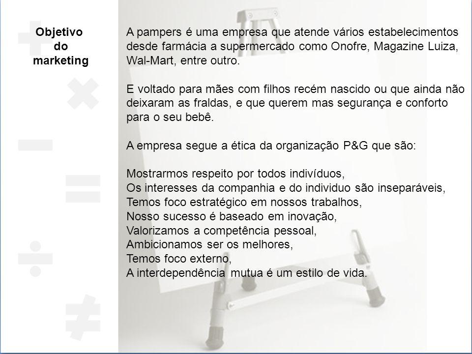 Objetivo do marketing A pampers é uma empresa que atende vários estabelecimentos desde farmácia a supermercado como Onofre, Magazine Luiza, Wal-Mart,