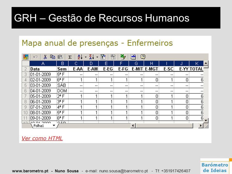 www.barometro.pt - Nuno Sousa - e-mail: nuno.sousa@barometro.pt - Tf: +351917426407 GRH – Gestão de Recursos Humanos