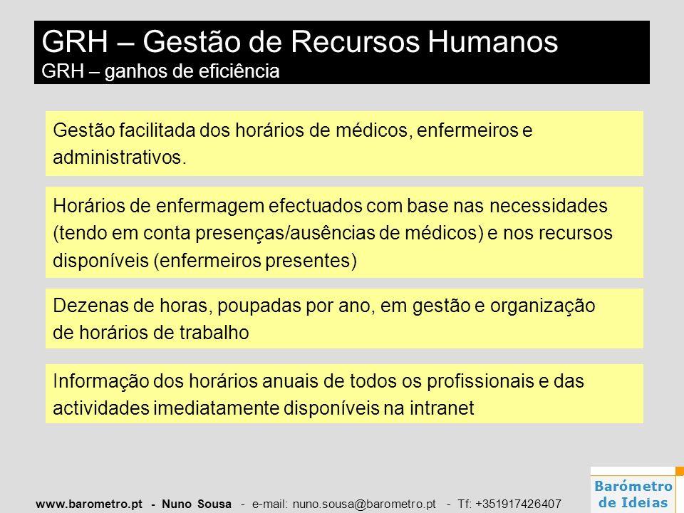 www.barometro.pt - Nuno Sousa - e-mail: nuno.sousa@barometro.pt - Tf: +351917426407 Gestão facilitada dos horários de médicos, enfermeiros e administr