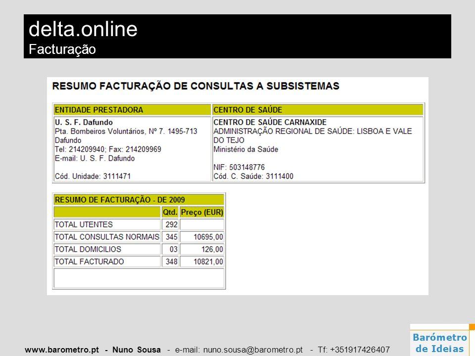 www.barometro.pt - Nuno Sousa - e-mail: nuno.sousa@barometro.pt - Tf: +351917426407 delta.online Facturação