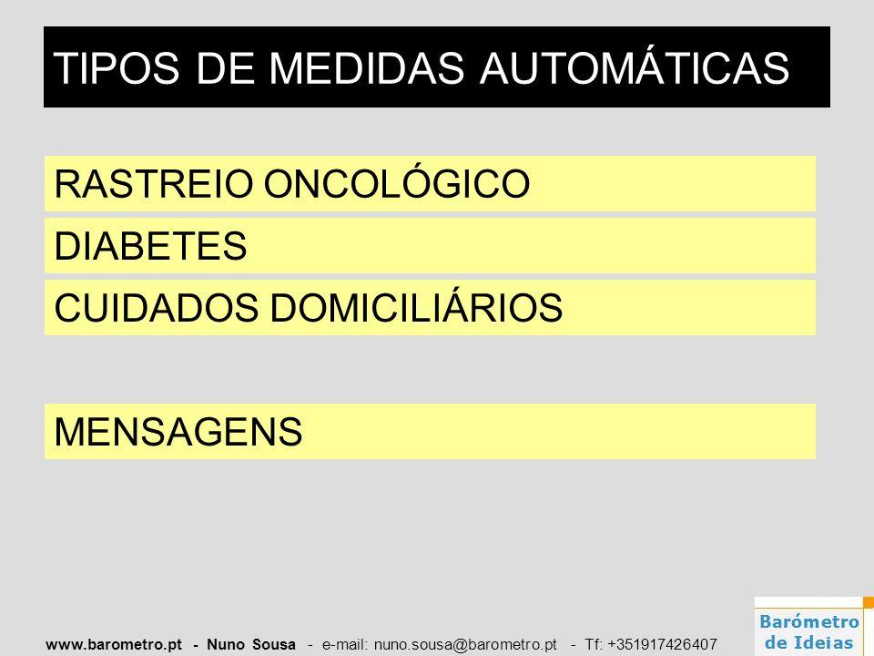 www.barometro.pt - Nuno Sousa - e-mail: nuno.sousa@barometro.pt - Tf: +351917426407 TIPOS DE MEDIDAS AUTOMÁTICAS RASTREIO ONCOLÓGICO DIABETES CUIDADOS
