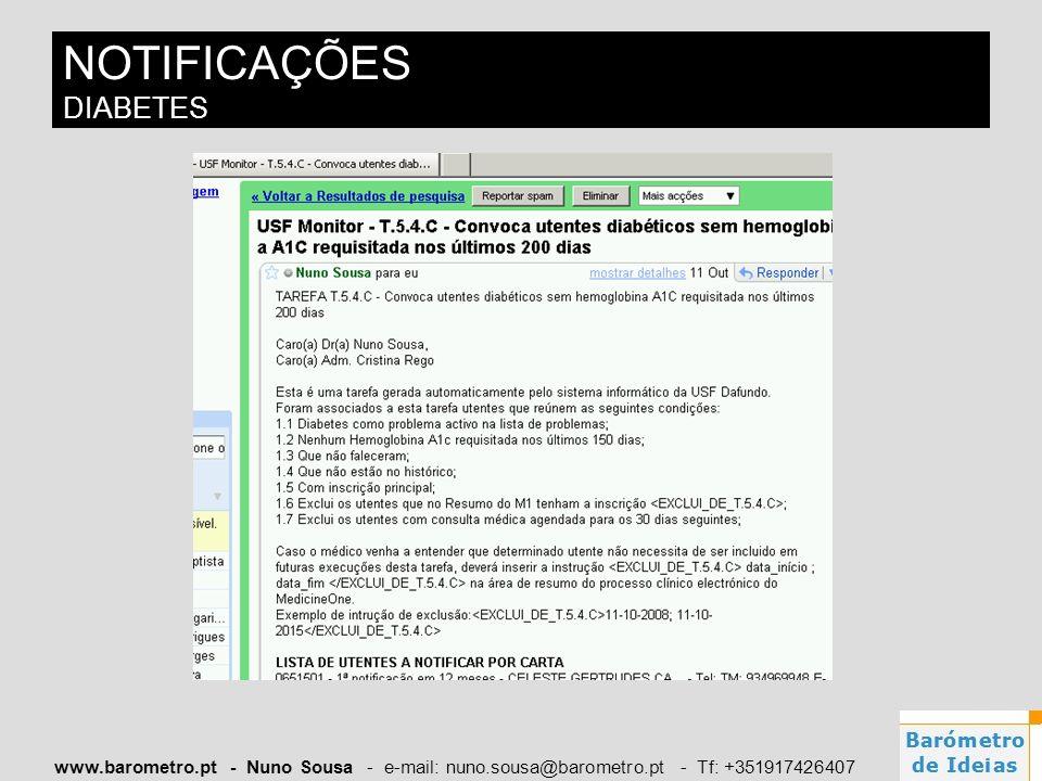 www.barometro.pt - Nuno Sousa - e-mail: nuno.sousa@barometro.pt - Tf: +351917426407 NOTIFICAÇÕES DIABETES