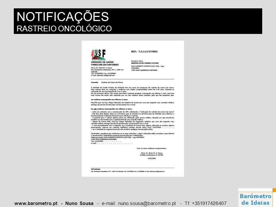 www.barometro.pt - Nuno Sousa - e-mail: nuno.sousa@barometro.pt - Tf: +351917426407 NOTIFICAÇÕES RASTREIO ONCOLÓGICO
