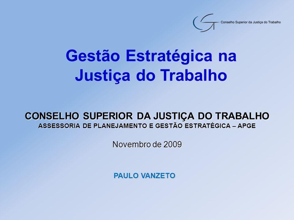 Gestão Estratégica na Justiça do Trabalho CONSELHO SUPERIOR DA JUSTIÇA DO TRABALHO ASSESSORIA DE PLANEJAMENTO E GESTÃO ESTRATÉGICA – APGE Novembro de
