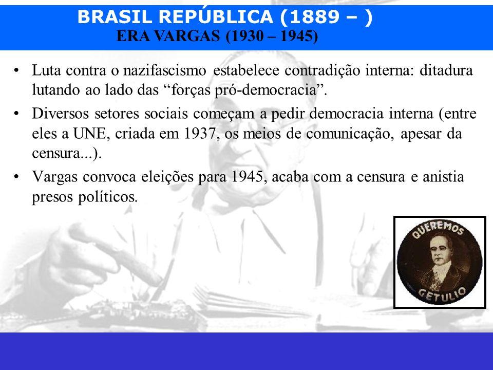 BRASIL REPÚBLICA (1889 – ) Prof. José Augusto Fiorin ERA VARGAS (1930 – 1945) Luta contra o nazifascismo estabelece contradição interna: ditadura luta