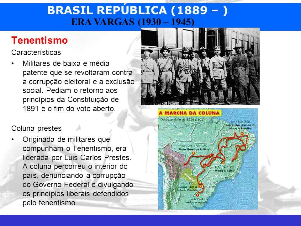 BRASIL REPÚBLICA (1889 – ) Prof. José Augusto Fiorin ERA VARGAS (1930 – 1945) Tenentismo Características Militares de baixa e média patente que se rev