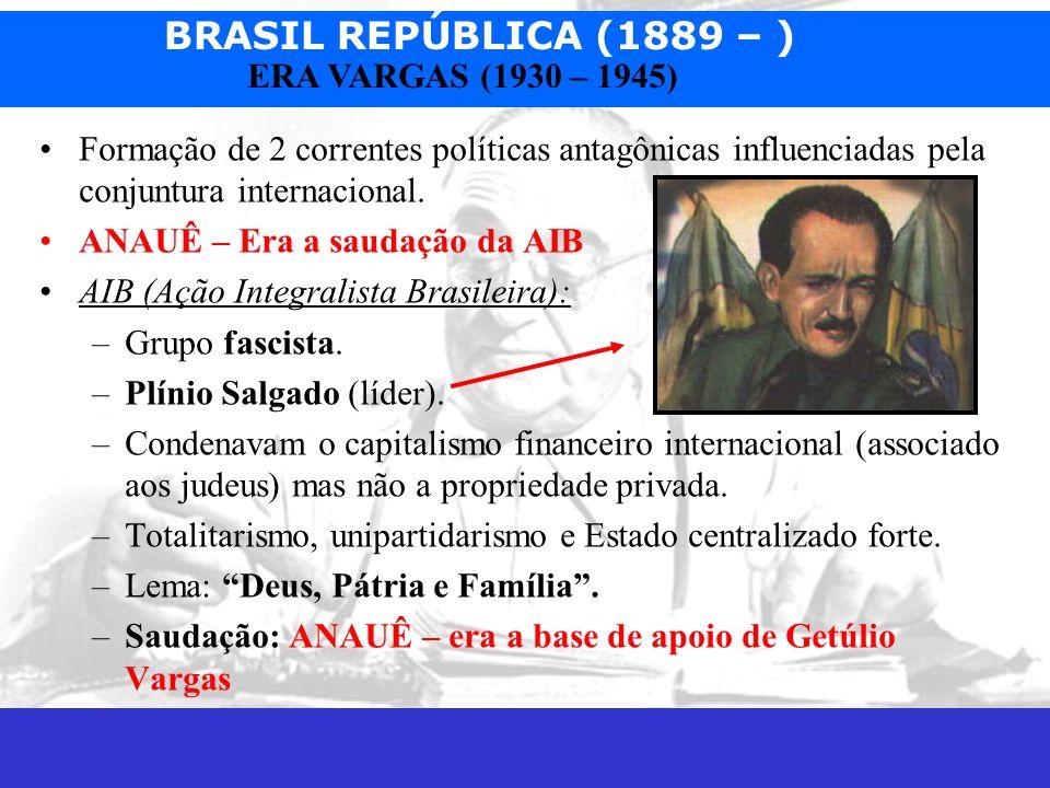 BRASIL REPÚBLICA (1889 – ) Prof. José Augusto Fiorin ERA VARGAS (1930 – 1945) Formação de 2 correntes políticas antagônicas influenciadas pela conjunt