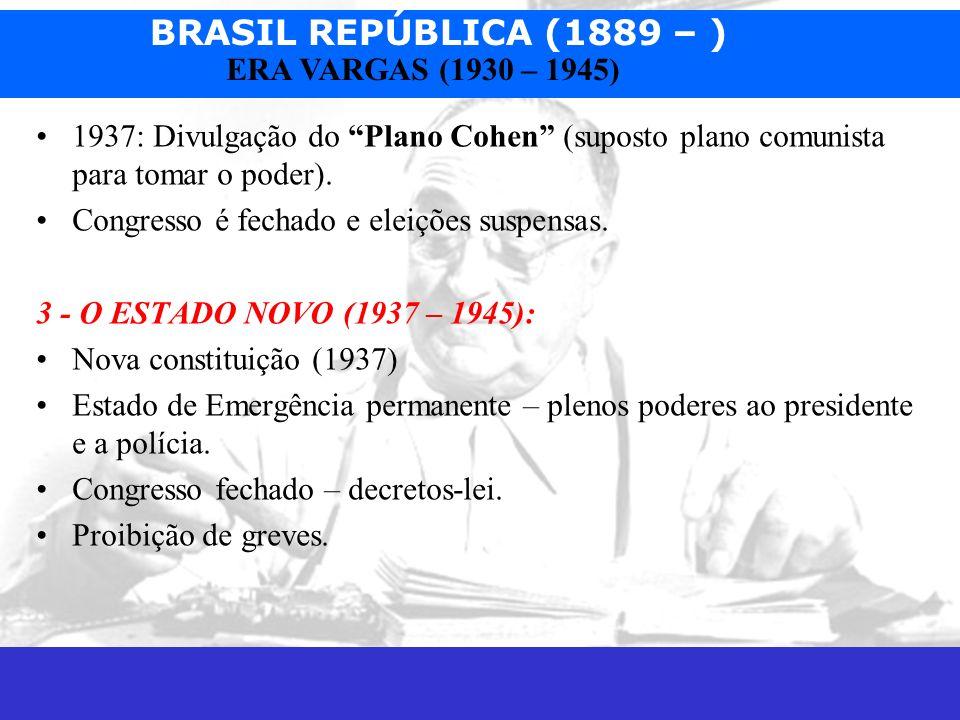 BRASIL REPÚBLICA (1889 – ) Prof. José Augusto Fiorin ERA VARGAS (1930 – 1945) 1937: Divulgação do Plano Cohen (suposto plano comunista para tomar o po