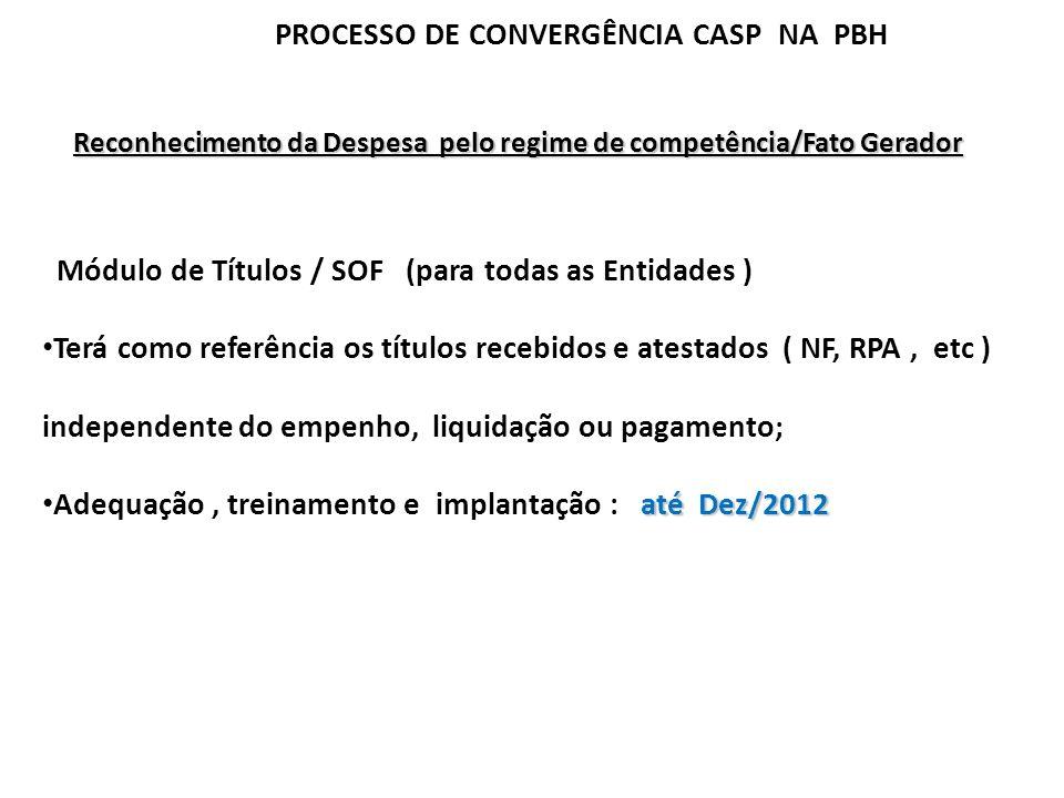 PROCESSO DE CONVERGÊNCIA CASP NA PBH Reconhecimento da Despesa pelo regime de competência/Fato Gerador Módulo de Títulos / SOF (para todas as Entidade