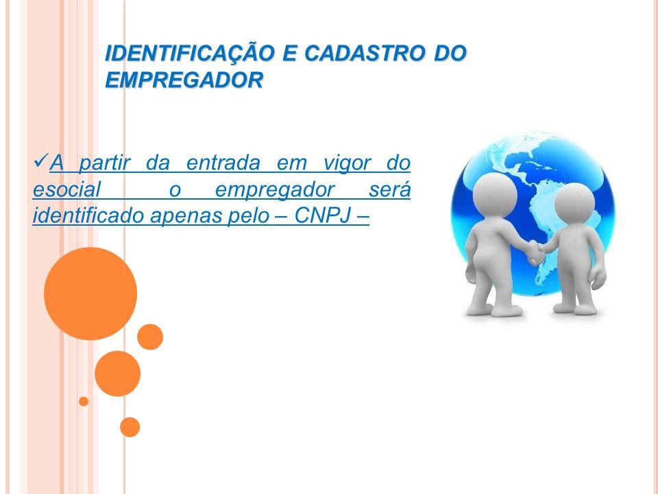 IDENTIFICAÇÃO E CADASTRO DO EMPREGADOR A partir da entrada em vigor do esocial o empregador será identificado apenas pelo – CNPJ –