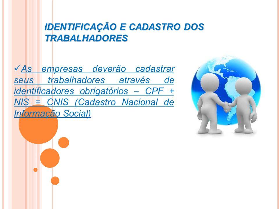 IDENTIFICAÇÃO E CADASTRO DOS TRABALHADORES As empresas deverão cadastrar seus trabalhadores através de identificadores obrigatórios – CPF + NIS = CNIS