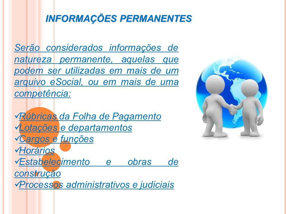 INFORMAÇÕES PERMANENTES Serão considerados informações de natureza permanente, aquelas que podem ser utilizadas em mais de um arquivo eSocial, ou em m
