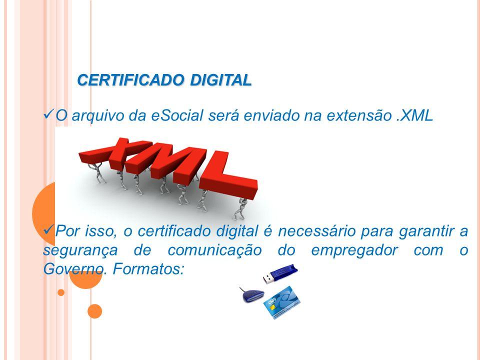 O arquivo da eSocial será enviado na extensão.XML Por isso, o certificado digital é necessário para garantir a segurança de comunicação do empregador