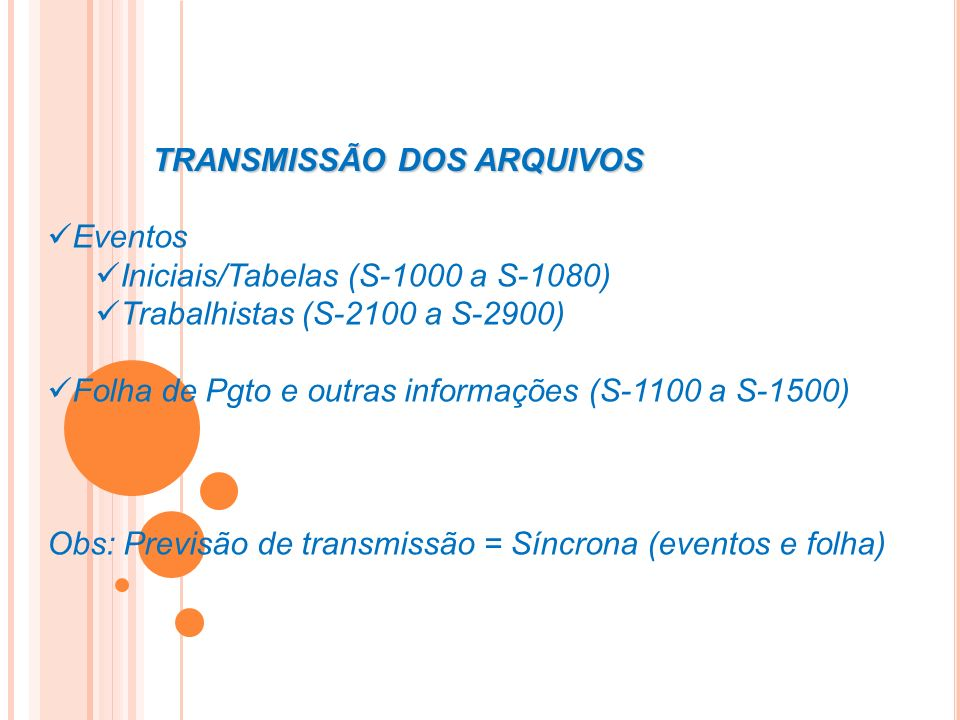 TRANSMISSÃO DOS ARQUIVOS Eventos Iniciais/Tabelas (S-1000 a S-1080) Trabalhistas (S-2100 a S-2900) Folha de Pgto e outras informações (S-1100 a S-1500