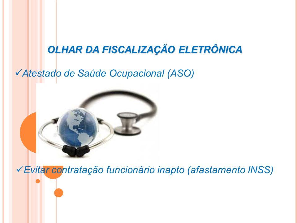 OLHAR DA FISCALIZAÇÃO ELETRÔNICA Atestado de Saúde Ocupacional (ASO) Evitar contratação funcionário inapto (afastamento INSS)