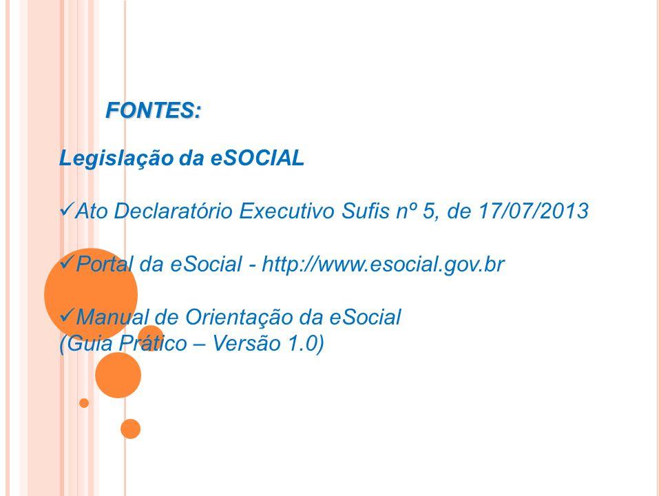 Legislação da eSOCIAL Ato Declaratório Executivo Sufis nº 5, de 17/07/2013 Portal da eSocial - http://www.esocial.gov.br Manual de Orientação da eSoci
