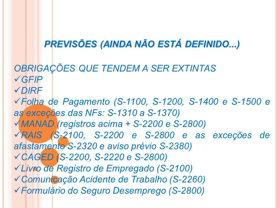 OBRIGAÇÕES QUE TENDEM A SER EXTINTAS GFIP DIRF Folha de Pagamento (S-1100, S-1200, S-1400 e S-1500 e as exceções das NFs: S-1310 a S-1370) MANAD (regi