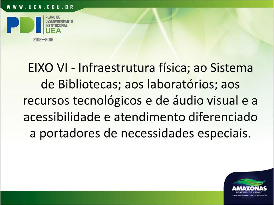 EIXO VI - Infraestrutura física; ao Sistema de Bibliotecas; aos laboratórios; aos recursos tecnológicos e de áudio visual e a acessibilidade e atendimento diferenciado a portadores de necessidades especiais.