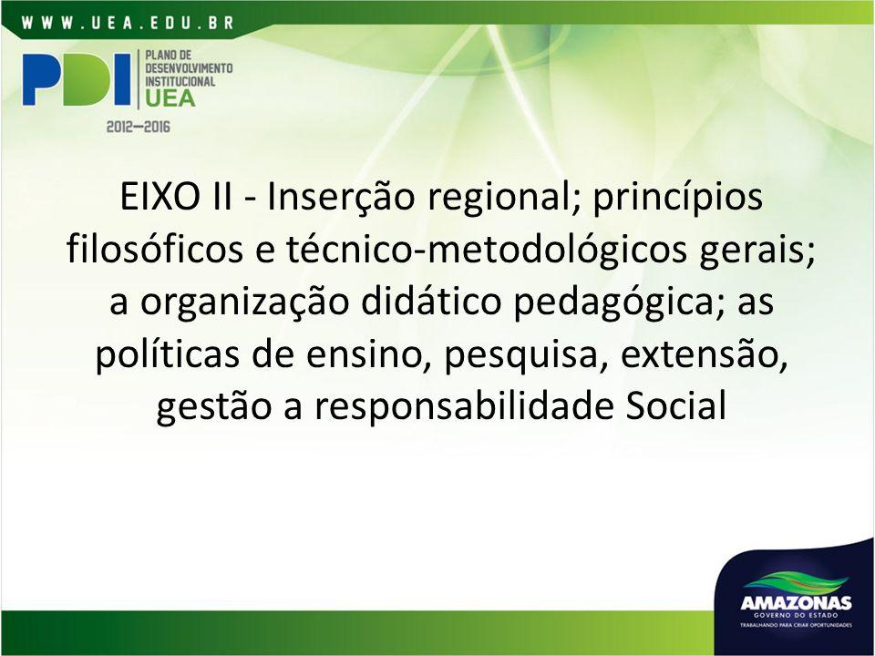 EIXO II - Inserção regional; princípios filosóficos e técnico-metodológicos gerais; a organização didático pedagógica; as políticas de ensino, pesquisa, extensão, gestão a responsabilidade Social
