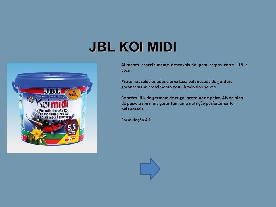 Alimento especialmente desenvolvido para carpas entre 15 e 35cm Proteínas selecionadas e uma taxa balanceada de gordura garantem um crescimento equilibrado dos peixes Contém 15% de germem de trigo, proteína de peixe, 4% de óleo de peixe e spirulina garantem uma nutrição perfeitamente balanceada Formulação 4:1 JBL KOI MIDI