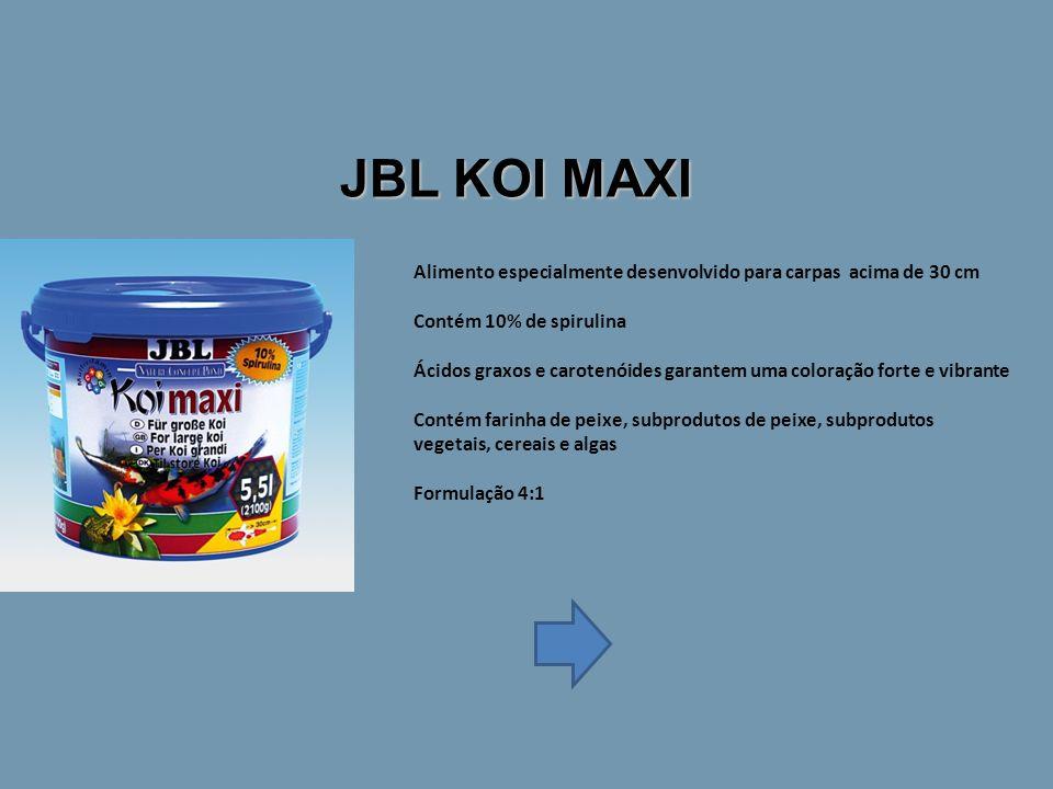JBL KOI MAXI Alimento especialmente desenvolvido para carpas acima de 30 cm Contém 10% de spirulina Ácidos graxos e carotenóides garantem uma coloração forte e vibrante Contém farinha de peixe, subprodutos de peixe, subprodutos vegetais, cereais e algas Formulação 4:1