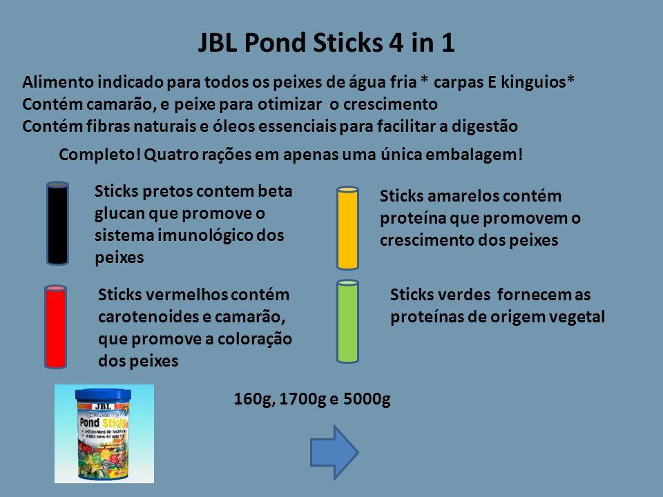 JBL Pond Sticks 4 in 1 Alimento indicado para todos os peixes de água fria * carpas E kinguios* Contém camarão, e peixe para otimizar o crescimento Contém fibras naturais e óleos essenciais para facilitar a digestão Completo.