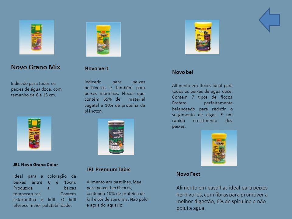 Novo Grano Mix Indicado para todos os peixes de água doce, com tamanho de 6 a 15 cm.
