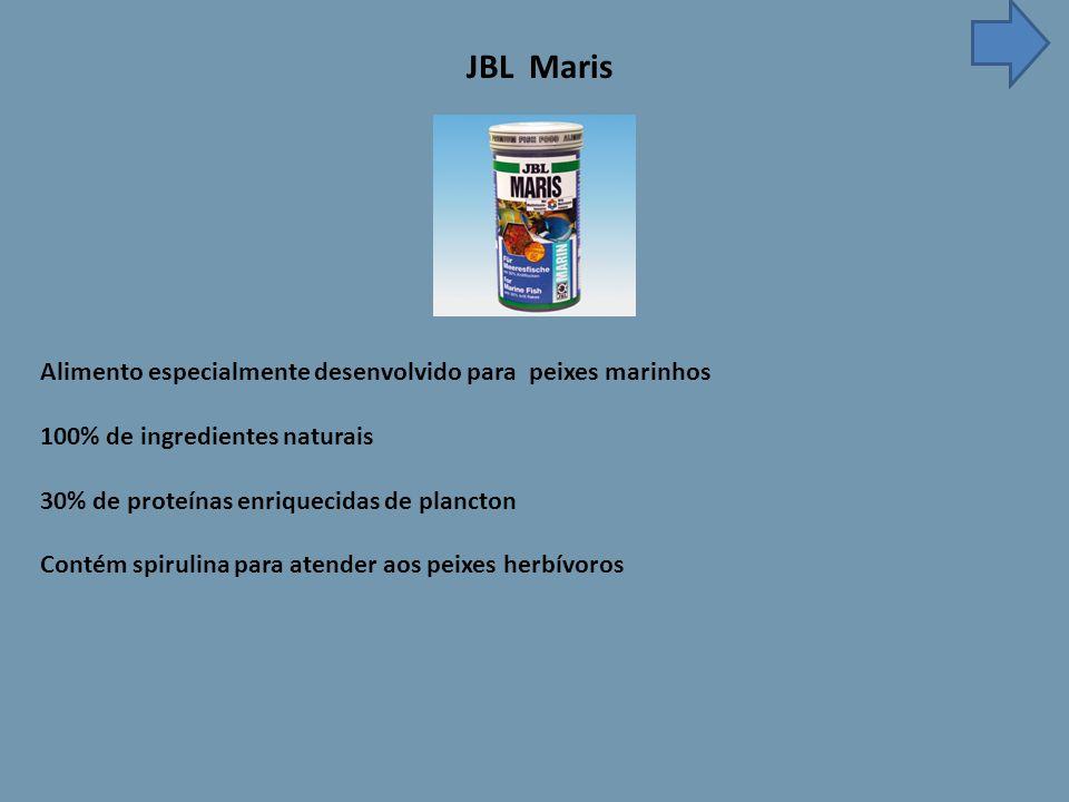 JBL Maris Alimento especialmente desenvolvido para peixes marinhos 100% de ingredientes naturais 30% de proteínas enriquecidas de plancton Contém spirulina para atender aos peixes herbívoros