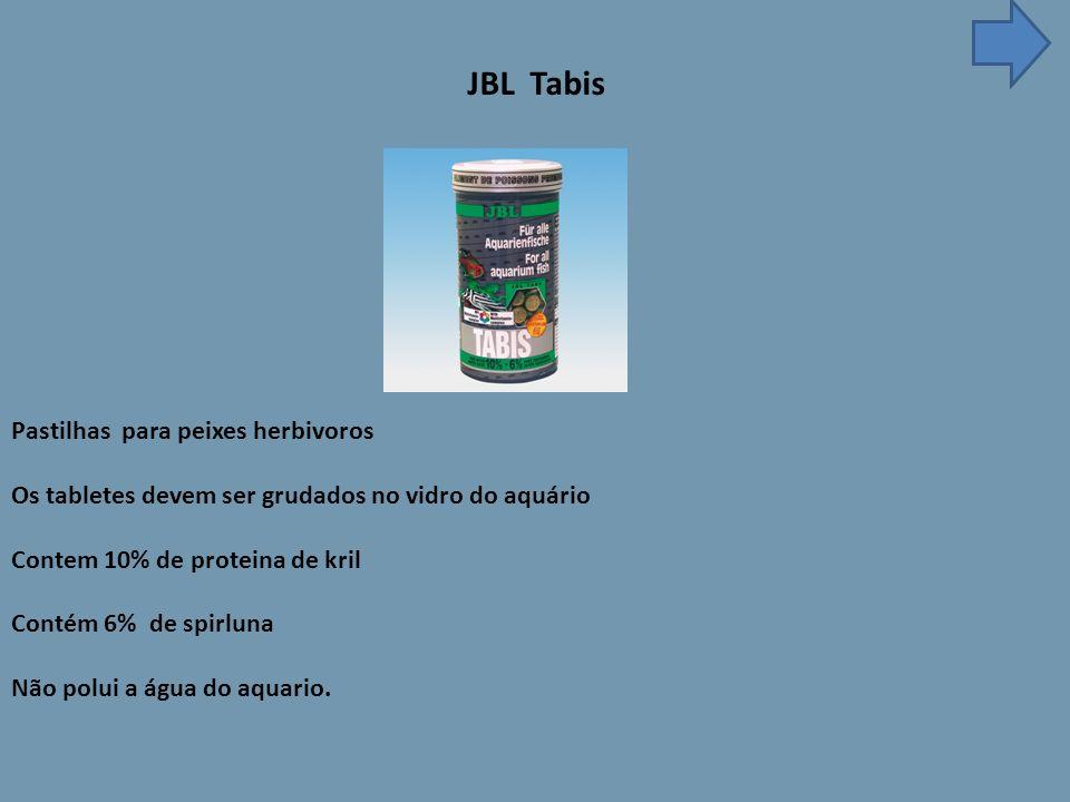JBL Tabis Pastilhas para peixes herbivoros Os tabletes devem ser grudados no vidro do aquário Contem 10% de proteina de kril Contém 6% de spirluna Não polui a água do aquario.