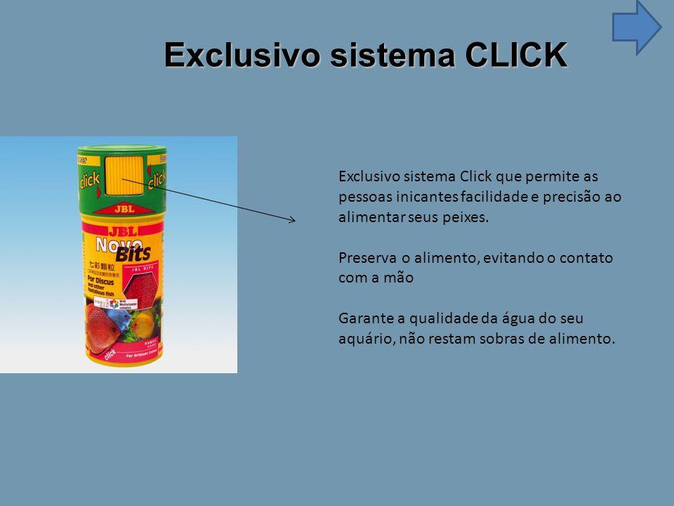 Exclusivo sistema CLICK Exclusivo sistema Click que permite as pessoas inicantes facilidade e precisão ao alimentar seus peixes.
