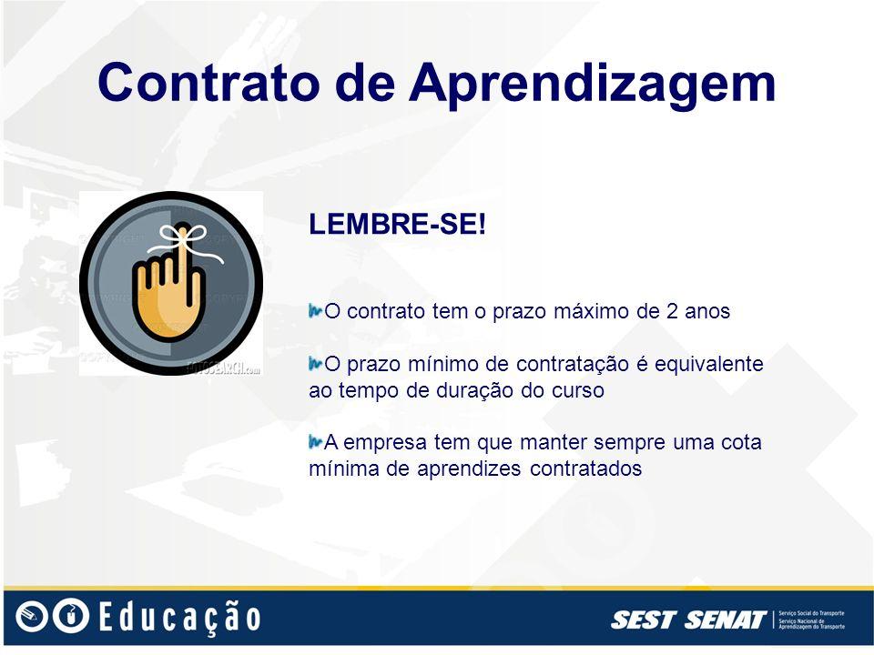 LEMBRE-SE! O contrato tem o prazo máximo de 2 anos O prazo mínimo de contratação é equivalente ao tempo de duração do curso A empresa tem que manter s