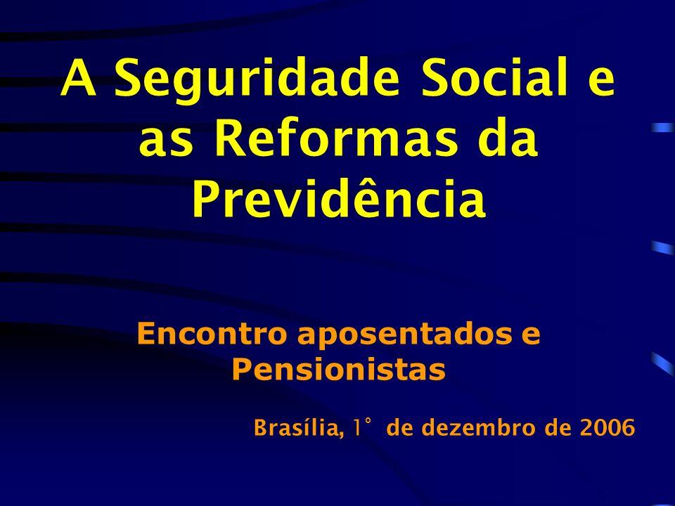 A Seguridade Social e as Reformas da Previdência Encontro aposentados e Pensionistas Brasília, 1 º d e dezembro de 2006